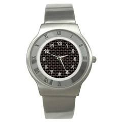 Brick1 Black Marble & Brown Colored Pencil Stainless Steel Watch