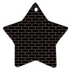 Brick1 Black Marble & Brown Colored Pencil Star Ornament (two Sides) by trendistuff