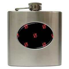 Seamless Pattern With Symbol Sex Men Women Black Background Glowing Red Black Sign Hip Flask (6 Oz) by Mariart