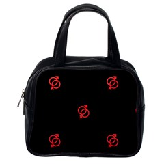 Seamless Pattern With Symbol Sex Men Women Black Background Glowing Red Black Sign Classic Handbags (one Side)