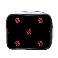 Seamless Pattern With Symbol Sex Men Women Black Background Glowing Red Black Sign Mini Toiletries Bags by Mariart