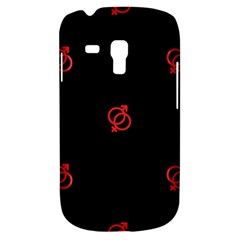 Seamless Pattern With Symbol Sex Men Women Black Background Glowing Red Black Sign Galaxy S3 Mini by Mariart