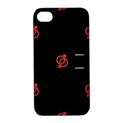 Seamless Pattern With Symbol Sex Men Women Black Background Glowing Red Black Sign Apple Iphone 4/4s Hardshell Case With Stand