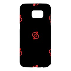 Seamless Pattern With Symbol Sex Men Women Black Background Glowing Red Black Sign Samsung Galaxy S7 Edge Hardshell Case by Mariart