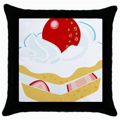 Seeds Strawberry Bread Fruite Red Throw Pillow Case (black) by Mariart