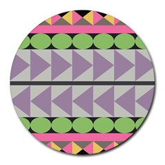 Shapes Patchwork Circle Triangle Round Mousepads by Mariart