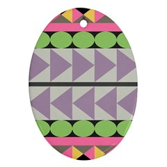 Shapes Patchwork Circle Triangle Ornament (oval) by Mariart