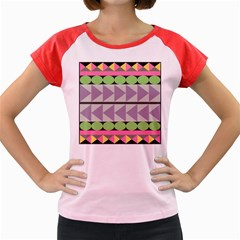 Shapes Patchwork Circle Triangle Women s Cap Sleeve T Shirt