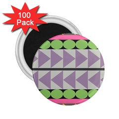 Shapes Patchwork Circle Triangle 2 25  Magnets (100 Pack)  by Mariart