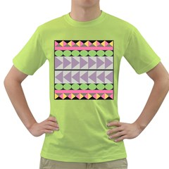 Shapes Patchwork Circle Triangle Green T-shirt by Mariart