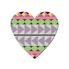 Shapes Patchwork Circle Triangle Heart Magnet by Mariart