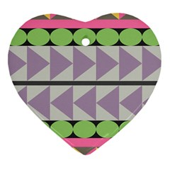 Shapes Patchwork Circle Triangle Heart Ornament (two Sides) by Mariart