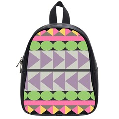 Shapes Patchwork Circle Triangle School Bags (small)  by Mariart