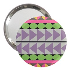 Shapes Patchwork Circle Triangle 3  Handbag Mirrors by Mariart