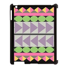 Shapes Patchwork Circle Triangle Apple Ipad 3/4 Case (black) by Mariart