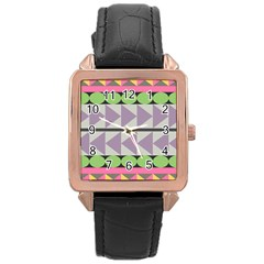 Shapes Patchwork Circle Triangle Rose Gold Leather Watch  by Mariart