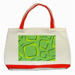 Shapes Green Lime Abstract Wallpaper Classic Tote Bag (red) by Mariart