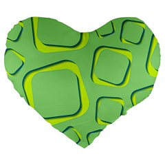 Shapes Green Lime Abstract Wallpaper Large 19  Premium Flano Heart Shape Cushions by Mariart