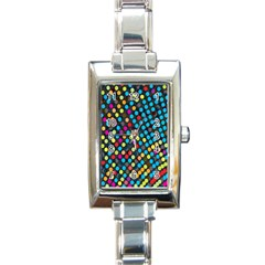 Polkadot Rainbow Colorful Polka Circle Line Light Rectangle Italian Charm Watch by Mariart