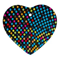 Polkadot Rainbow Colorful Polka Circle Line Light Ornament (heart) by Mariart