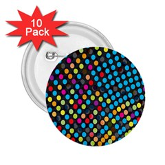 Polkadot Rainbow Colorful Polka Circle Line Light 2 25  Buttons (10 Pack)