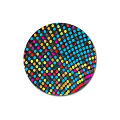 Polkadot Rainbow Colorful Polka Circle Line Light Magnet 3  (round) by Mariart