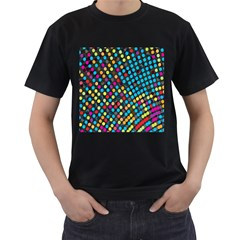 Polkadot Rainbow Colorful Polka Circle Line Light Men s T Shirt (black) (two Sided)