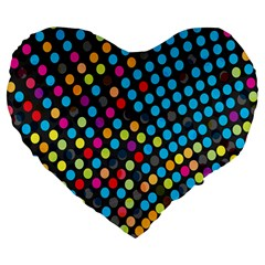 Polkadot Rainbow Colorful Polka Circle Line Light Large 19  Premium Heart Shape Cushions by Mariart