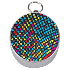 Polkadot Rainbow Colorful Polka Circle Line Light Silver Compasses by Mariart