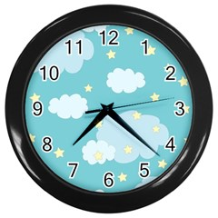 Stellar Cloud Blue Sky Star Wall Clocks (black) by Mariart