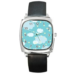 Stellar Cloud Blue Sky Star Square Metal Watch by Mariart