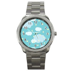 Stellar Cloud Blue Sky Star Sport Metal Watch by Mariart