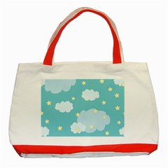 Stellar Cloud Blue Sky Star Classic Tote Bag (red) by Mariart