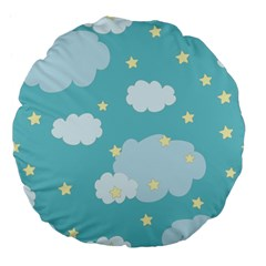 Stellar Cloud Blue Sky Star Large 18  Premium Flano Round Cushions by Mariart