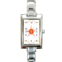 Test Flower Star Circle Orange Rectangle Italian Charm Watch by Mariart