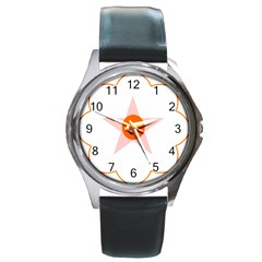 Test Flower Star Circle Orange Round Metal Watch by Mariart