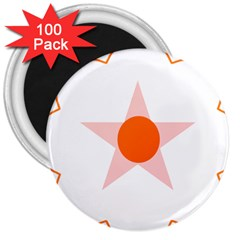 Test Flower Star Circle Orange 3  Magnets (100 Pack)