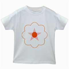 Test Flower Star Circle Orange Kids White T Shirts