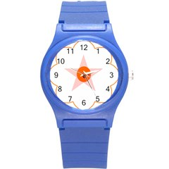 Test Flower Star Circle Orange Round Plastic Sport Watch (s) by Mariart
