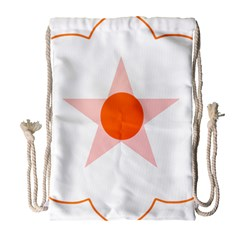 Test Flower Star Circle Orange Drawstring Bag (large) by Mariart