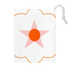 Test Flower Star Circle Orange Drawstring Pouches (extra Large) by Mariart