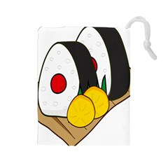 Sushi Food Japans Drawstring Pouches (large)  by Mariart