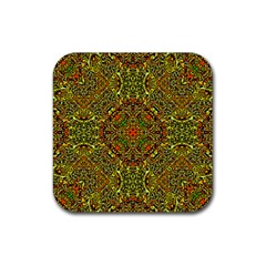 Oriental Pattern 01b Rubber Square Coaster (4 Pack)  by MoreColorsinLife
