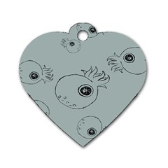 Tiny Octopus Dog Tag Heart (one Side) by Mariart