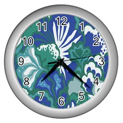 Tropics Leaf Bluegreen Wall Clocks (silver)  by Mariart