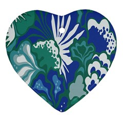 Tropics Leaf Bluegreen Heart Ornament (two Sides) by Mariart