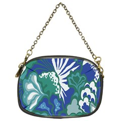 Tropics Leaf Bluegreen Chain Purses (one Side)  by Mariart