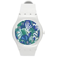 Tropics Leaf Bluegreen Round Plastic Sport Watch (m) by Mariart
