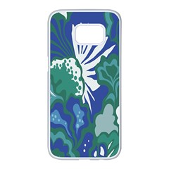 Tropics Leaf Bluegreen Samsung Galaxy S7 Edge White Seamless Case by Mariart