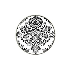 Vintage Damask Black Flower Hat Clip Ball Marker (10 Pack) by Mariart